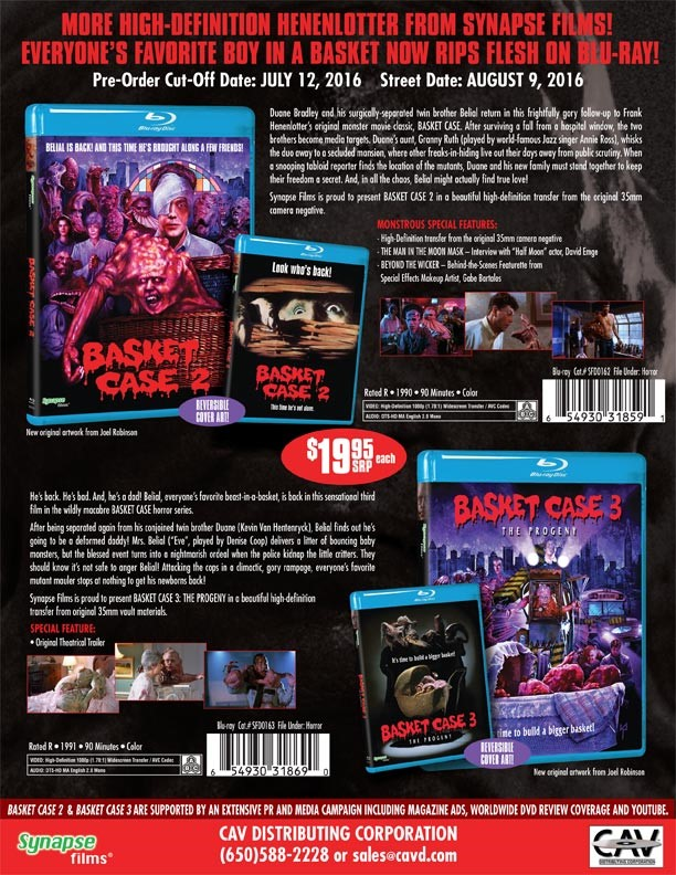 Basket Case 2 and 3 Coming to Blu-ray from Synapse Films!